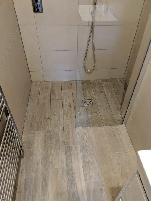 Wet room shower area