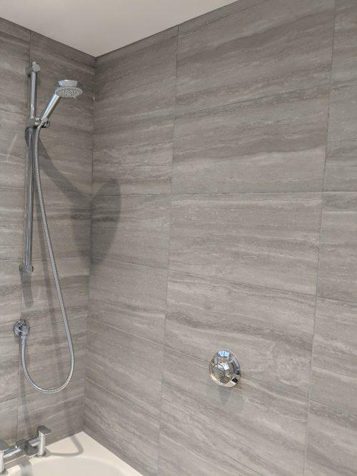Beautiful grey tiling in shower